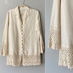 Vintage Ivory Scallop Lace Button Down Tunic Top